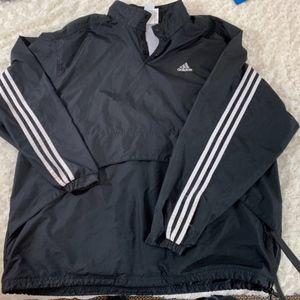 Adidas Mens Sz XL Windbreaker Lined Vented Black W